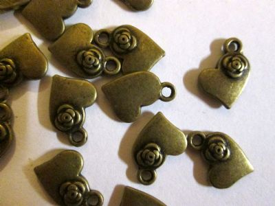 Bronze Heart and Flower Charms